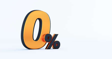 3d render of Discount zero 0 percent off isolated on white background Stockfoto
