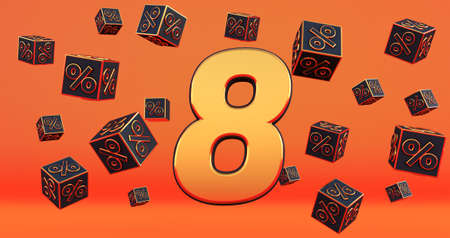 gold eight 8 percent number with Black cubes percentages fly on a orange background. 3d render