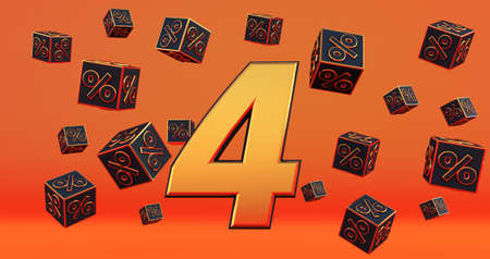 gold four 1 percent number with Black cubes percentages fly on a orange background. 3d render