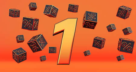 gold one 1 percent number with Black cubes percentages fly on a orange background. 3d render Stockfoto