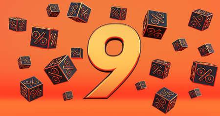 gold nine 9 percent number with Black cubes percentages fly on a orange background. 3d render Stockfoto