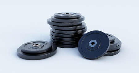 Heavy weight lifting. Gym supplies. Weight for sport isolated on white background. 3d render