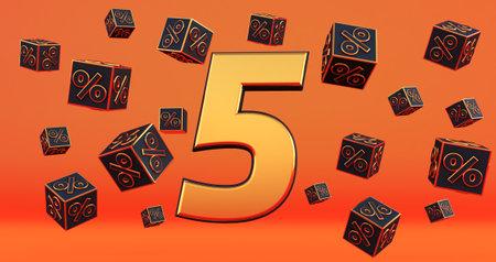 gold five 5 percent number with Black cubes percentages fly on a orange background. 3d render