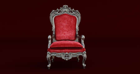 3D render of Classic baroque armchair throne in bronze and beige colors isolated on white background.