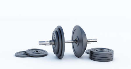 3d render of Stylish Iron Barbell, dumbbell isolated on black background. High resolution, Gym equipment,