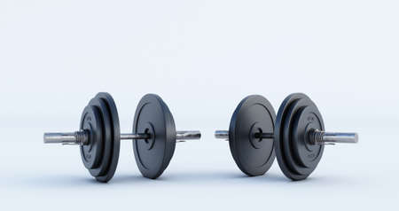 3d render of golden Iron Barbell, dumbbell isolated on black background. High resolution, Gym equipment,