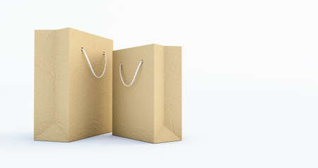 3d render of Paper Bag Template with handle rope, Isolated on white background Stockfoto