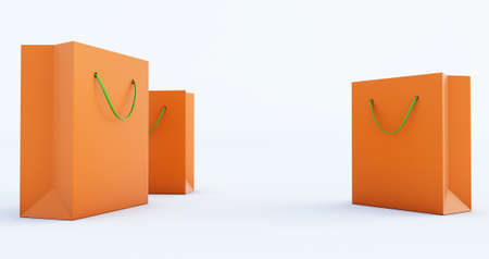3d render of orange Paper Bag Template with green handle rope, Isolated on white background Stockfoto