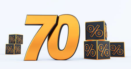 gold ninety 90 percent number with Black cubes percentages isolated on white background. 3d render Stockfoto