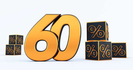 gold sixty 60 percent number with Black cubes percentages isolated on white background. 3d render Stockfoto
