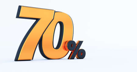 3d render of Discount seventy 70 percent off isolated on white background