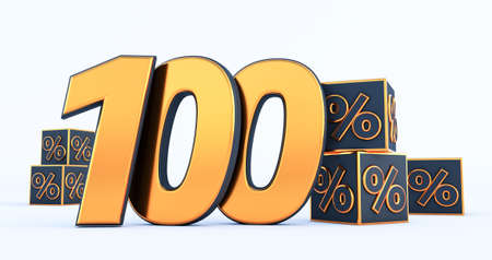 gold one hundred 100 percent number with Black cubes percentages isolated on white background. 3d render Stockfoto