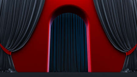3d render of walkway arch, yellow hallway, Long tunnel with arches and red carpet