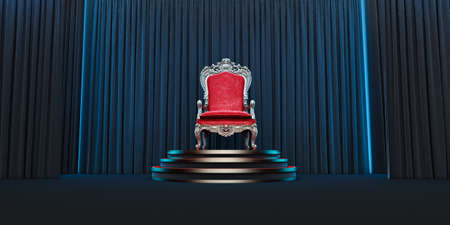 Red royal chair on a background of black curtains. 3d render