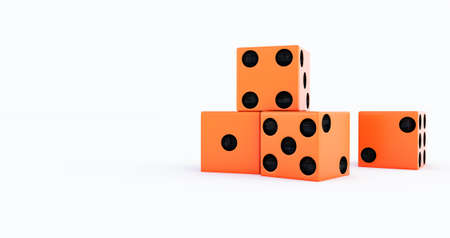 3d render of orange Casino dice on a white background.