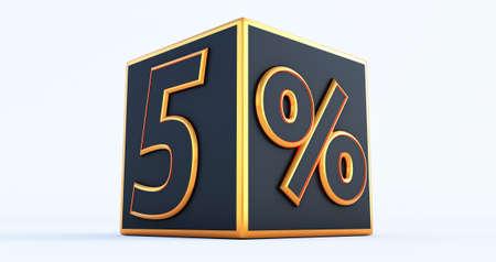 3D render of a golden five 5 percenton black box, 3D discount boxes,