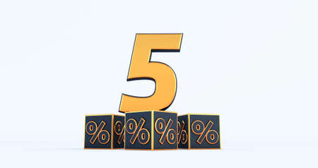 gold five 5 percent number with Black cubes percentages isolated on a white background. 3d render