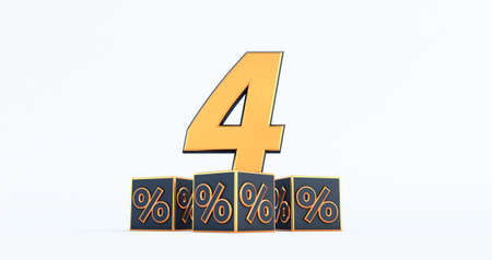 gold four 4 percent number with Black cubes percentages isolated on a white background. 3d render