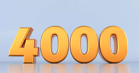 3d render of golden number 4000 on white background. gold four thousand Stockfoto