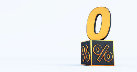 gold zero 0 percent number with Black cubes percentages isolated on a white background. 3d render Stockfoto
