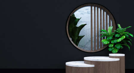 Abstract minimal scene with geometric forms. show cosmetic product, Podium, stage pedestal or platform. 3D wooden podium display with leaf shadow. 3d render Stockfoto