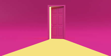 3d render of yellow light going through the open door isolated on pink background.