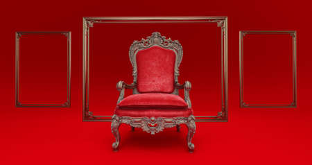 3D render of Classic baroque armchair throne in bronze and red colors isolated on dark red background. armchair throne whithe golden frame