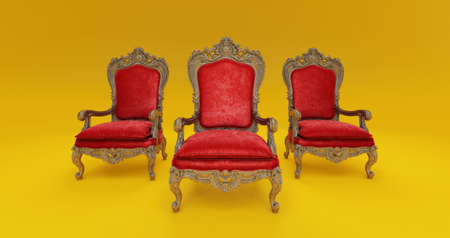 3D render of Classic baroque armchair throne in bronze and red colors isolated on dark yellow background.