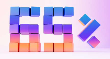 Colorful boxes forming the number sixty-five isolated on white background, 3d render Stockfoto