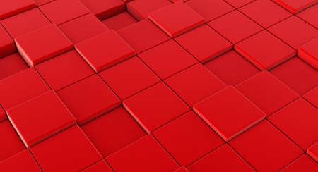 3D render of Abstract Red Cube Blocks Wall Background. Stockfoto