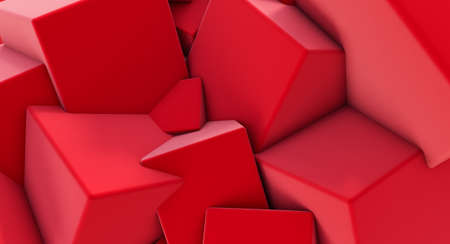 3D render of Red Chaotic Cubes Wall Background.