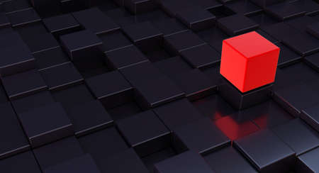 Isolated Color Red Cube block among other Black ones. 3d render