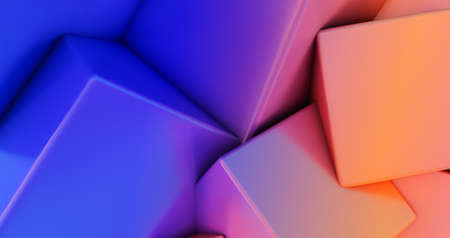 3D render of gradient Chaotic Cubes Wall Background.