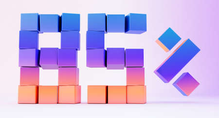 Abstract 3d render, modern geometric background design, 3d gradient cube isolated on white background.