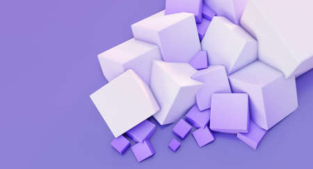 3D render of white Chaotic Cubes Wall Background.