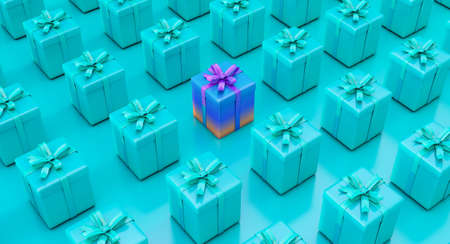 Set of gifts box. Surprise boxes. Celebration decoration objects. Isometric colorful square gift box set.