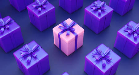 Set of gifts box. Surprise boxes. Celebration decoration objects. Isometric square gift box set.