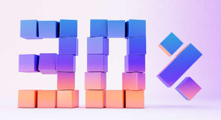 Colorful boxes forming the number nine isolated on white background, 3d render
