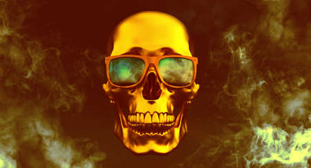 golden Human skulls with sunglasses on smoke background, 3d render Stockfoto