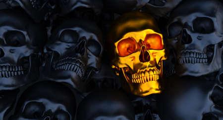 black and gold Human skulls background, 3d render, Stockfoto
