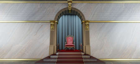 3d render of red royal throne, throne room, Red carpet leading to the luxurious throne Stockfoto