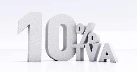 number 10 percent VAT written in 3D, ten percent VAT isolated on white background, 3D render