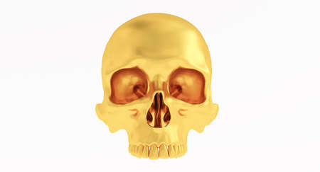 golden Skull and Crossbones Isolated on a white background. Stockfoto