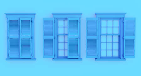 colorful blue opened and closed window isolated on blue background.