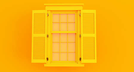 colorful yellow opened window isolated on blue background.