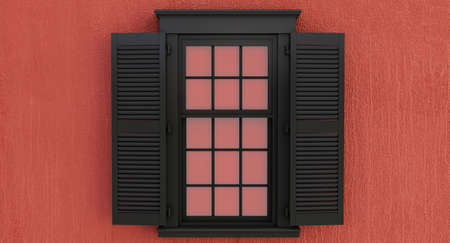 Black opened window isolated on red background.