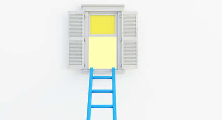 3d render of blue Ladder on an open window isolated on white background.