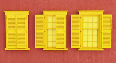 colorful yelow opened and closed window isolated on red background.