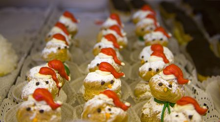 Rows and columns of Christmas Snowman Creampuffs Stock Photo