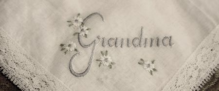 hanky: Grandma hanky - Linen and lace hankerchief embroidered with the word Grandma.